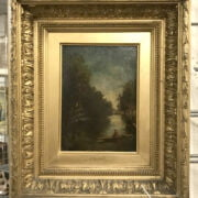 JULES DUPRE 1811 -1899 OIL ON PANEL - RIVER SCENE WITH MAN IN BOAT, SIGNED
