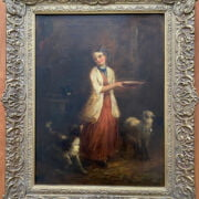 HENRY EARP SNR 1831- 1914 OIL ON CANVAS - GIRL FEEDING LAMB WITH DOG - SIGNED LOWER LEFT - HAS BEEN RE-LINED, VERY NICE CONDITION