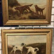 PAIR 19THC OILS ON CANVAS ''SETTERS IN MOORLAND LANDSCAPE''  1 SIGNED  29CM X 39CM - RELINED - BOTH IN VERY GOOD CONDITION