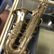 EARLY SAXOPHONE WITH MOTHER OF PEARL INLAY