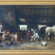 JOSEPH WRIGHTSON MCINTYRE 1866 - 1888 OIL ON CANVAS - THE VILLAGE SMITH- SIGNED & DATED 60CM X 107CM - VERY GOOD ORIGINAL CONDITION COMMENSURATE WITH AGE