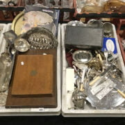 TWO TRAYS OF SILVER PLATE