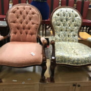 TWO BUTTON BACK ARMCHAIRS