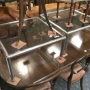 PAIR GLASS TOP SIDE TABLES
