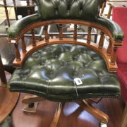 GREEN LEATHER SWIVEL CHAIR