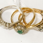 4 18CT GOLD RINGS - SOME DIAMOND