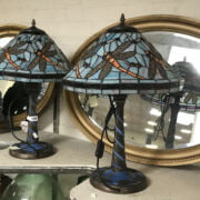 PAIR BLUE DRAGONFLY TIFFANY STYLE LAMPS - HEIGHT 60CMS, WIDTH SHADE 38CM, WIDTH BASE 19CM & DEPTH 19CM