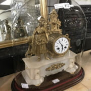 FRENCH CLOCK UNDER GLASS DOME - 43CMS
