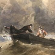 EDWARD TUCKER 1846-1909 WATERCOLOUR - SHIPPING OFF THE COAST - SIGNED- APPROX 92CM  X 64CM - GOOD CONDITION FOR AGE