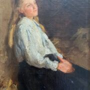ATTRIBUTED TO ANDERS LEONARD ZORN 1860-1920 OIL ON CANVAS LAID DOWN - YOUNG GIRL IN THOUGHT, FAINTLY SIGNED TOP RIGHT