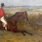 ATTRIBUTED TO JOHN FREDERICK HERRING 1820-1907 OIL ON BOARD, HUNTER & RIDER, E.STACY MARKS LABEL TO BACK - 24CM X 31CM - GOOD CONDITION, SOME SPREAD TO THE PAINT
