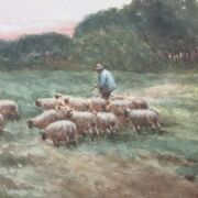 JAMES WALTER GOZZARD 1888-1950 PAIR OF WATERCOLOURS ''CARTING SAND & FLOCK OF SHEEP'' BOTH SIGNED - GOOD CONDITION IN ORNATE FRAMES
