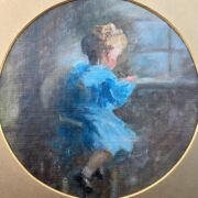 ATTRIBUTED TO DORETHEA SHARP 1874-1955 OIL ON BOARD ''BOY WRITING AT A DESK'' INSCRIBED ON REVERSE - 22CM DIAMETER - VERY GOOD CONDITION, NO OBVIOUS SIGNS OF RESTORATION