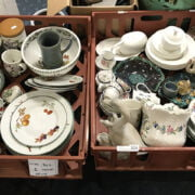 2 TRAYS CHINA INCL. ROYAL WORCESTER & DOULTON