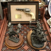 TWO FRANKLIN MINT SCULPTURES & 4 PEWTER HORSES