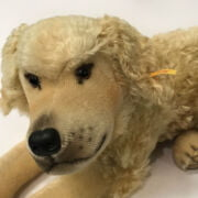 STEIFF DOG 60CM FROM NOSE TO TAIL, BUTTON IN EAR & IN GREAT CONDITION