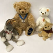 SILVER JUBILEE BEAR WITH TWO STEIFF BEARS SMALLER & STEIFF BUGS BUNNY - ALL BUTTONS IN EAR - MILLENNIUM BEAR IS 30CM TALL