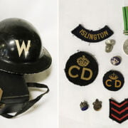 WARTIME LOT TO INCLUDE FIRE HELMET, GAS MASK & SOME MEDALS ETC