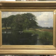 ROWLAND HOLYOAKE SIGNED OIL ON CANVAS - THE HOME OF THE SWAN- 75CM X 50CM -...