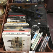 CANON EOS CAMERA WITH CASE & LENSES, TRIPOD WITH BOOKS & OTHER ITEMS