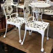 METAL GARDEN TABLE & TWO CHAIRS
