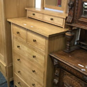 OAK 6 DRAWER CHEST WITH MIRROR