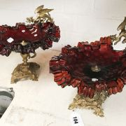 PAIR CRANBERRY GLASS COMPORTS WITH DRAGONS TO THE SIDE - 23CMS (H)