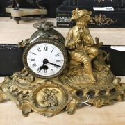 GILT MANTLE CLOCK WITH FRENCH MOVEMENT - 35CMS X 23CMS