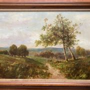 GEORGE BOYLE 1842-1930 OIL ON CANVAS - IMPRESSIONIST LANDSCAPE WITH SHEEP -...