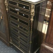 EBONY 8 DRAWER FRENCH MARBLE TOP CHEST