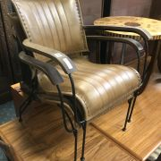 PAIR TAN LEATHER COCKTAIL CHAIRS