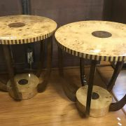 PAIR ROUND ART DECO STYLE TABLES
