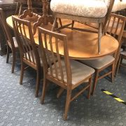 TEAK TABLE & 6 CHAIRS BY WILLIAM LAWRENCE