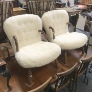 PAIR OF FURRY CLAM CHAIRS