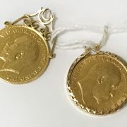 TWO HALF SOVEREIGNS - 1905 & 1914 - 1 IS LOOSE MOUNTED