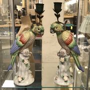 PAIR BRONZE PARROT CANDLE HOLDERS - 36CMS