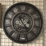 LARGE INDUSTRIAL STYLE MOVING COGS WALL CLOCK - 80CMS (DIAM)