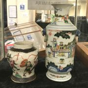 TWO CHINESE VASES - LARGEST 26CMS