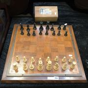 WOODEN CHESS BOARD WITH HAND CARVED CHESS SET