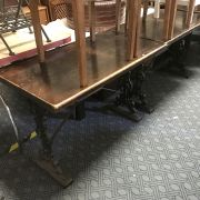 PAIR OF CAST IRON BASE TABLES - OBLONG