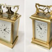 TWO CARRIAGE CLOCKS WITH KEYS