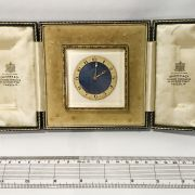EARLY SWISS GILT & ENAMEL DESK CLOCK COMPLETE WITH ITS ORIGINAL CASE, SUPPL...