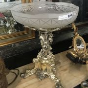 SILVER PLATED COMPORT WITH GLASS TOP - 45 CMS