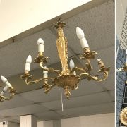 3 GILT CHANDELIERS WITH 3 PAIRS OF WALL LIGHTS - PAIR HEIGHT 67CM WIDTH 53C...