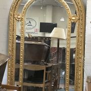 LARGE GILT WOODEN ARCH MIRROR