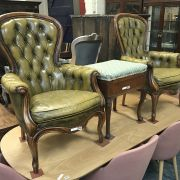 2 LEATHER BUTTON BACK CHAIRS