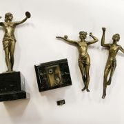 3 ART DECO GIRL FIGURES - 1 ON BASE IN GOOD CONDITION, 2 OTHERS NEED ATTENT...