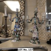 PAIR OF FRENCH PORCELAIN CANDELABRAS - SOME DAMAGE TO 1 - 42 CMS