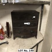 VICTORIAN BOW FRONT 4 DRAWER APPRENCTICE CHEST