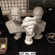 THREE BUSTS - BASE DAMAGED ON 2 - LARGEST 68 CMS (H) MIDDLE 64 CM (H) SMALL...